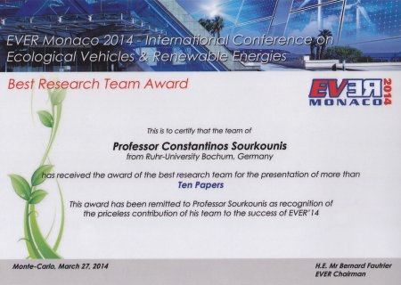 Award Ever'14 Prof. Sourkounis